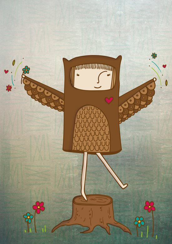 Little Owl Girl Art Print