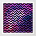 Girly Chevron Pattern Cute Pink Teal Nebula Galaxy Art Print