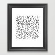 Framed Art Print featuring Abstract Heart Black On … by Project M