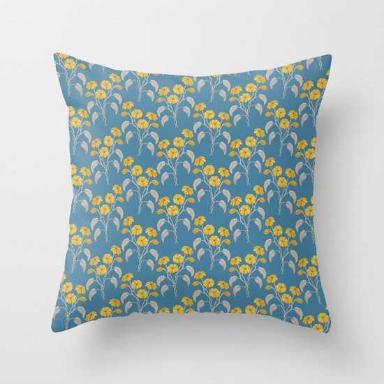 Flowers Blue Pattern Throw Pillow