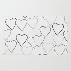 Black and White R Hearts Rug