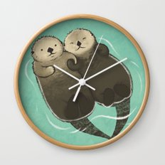 Significant Otters - Otters Holding Hands Wall Clock