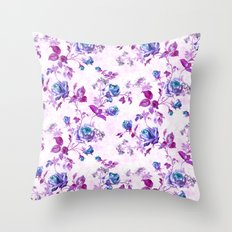 Turquoise Magenta Roses Throw Pillow