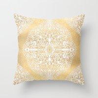 White Gouache Doodle On … Throw Pillow