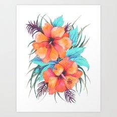 TROPICAL FLOWER {orange hibiscus}  Art Print