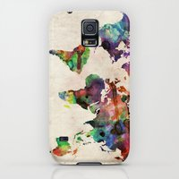 Galaxy S5 Cases featuring World Map Urban Watercolor by artPause