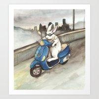 Blue Scooter Art Print