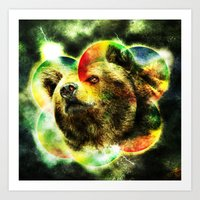 Animal - Grunge Watercolor - Bear Art Print