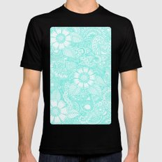 Henna Design - Aqua Mens Fitted Tee Black SMALL