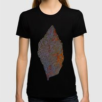 Autum Leaf Womens Fitted Tee Black SMALL