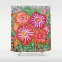 Orange Fantasy Flowers Shower Curtain
