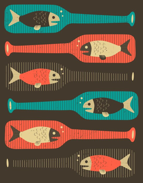 Fish in a Bottle (brown) Art Print