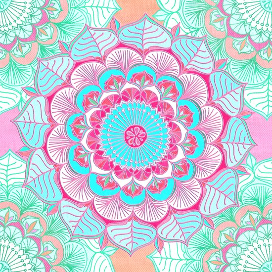Tropical Bloom - floral doodle in pink, mint, peach, aqua, white Art Print