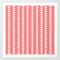 Tribal in Pink & White Art Print