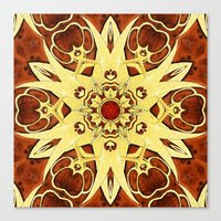 Brass And Burl Mandala Canvas Print