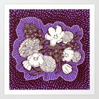 Placed Floral: Mauve Brown Art Print