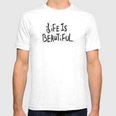 Life is Beautiful (white) Mens Fitted Tee White SMALL