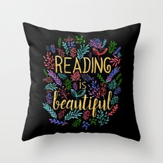 Reading Is Beautiful - G… Throw Pillow