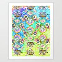 Geometrical Paisley Floral pastel print Art Print