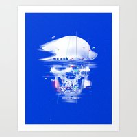 Blue glitch of death Art Print