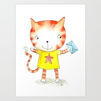 Ginger Kitten Watercolou… Art Print