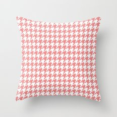 Houndstooth - Coral Throw Pillow