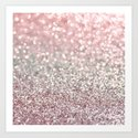 Girly Pink Snowfall Art Print