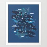 Land Of The Blue Mountai… Art Print