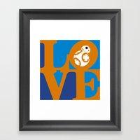 Robot LOVE - Orange Framed Art Print