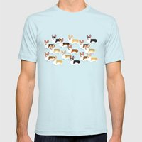 Color Me Corgi Mens Fitted Tee Light Blue SMALL