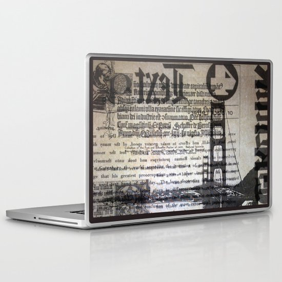 Golden Gate Bridge Text Collage Laptop & iPad Skin
