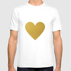 Heart of Gold White SMALL Mens Fitted Tee