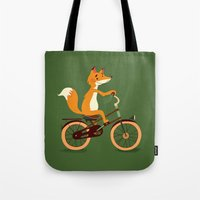 Little Fox On The Bike Tote Bag