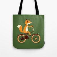 Little fox on the bike Tote Bag