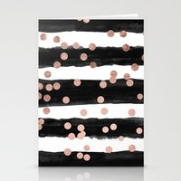 Girly rose gold confetti black watercolor stripes Stationery Cards