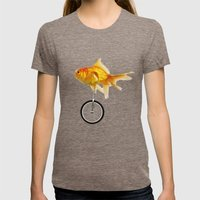Unicycle Gold Fish -2 Womens Fitted Tee Tri-Coffee SMALL