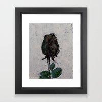Black Rosebud Framed Art Print
