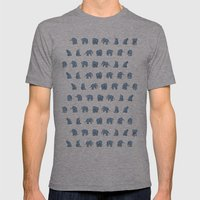 Indian Baby Elephants in Navy Mens Fitted Tee Athletic Grey SMALL