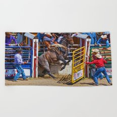 The Release - Rodeo Bronco Riding Beach Towel