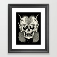 Grinning Skull with Horns Framed Art Print