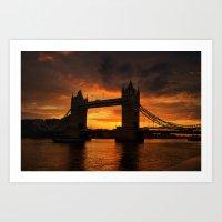 Tower Bridge Sunset. Art Print