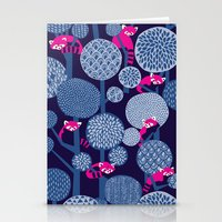 Red Panda Forest - Blue Stationery Cards