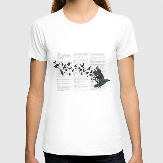 Vintage Style Print with Poem Text Edgar Alan Poe: Edgar Alan Crow T-shirt