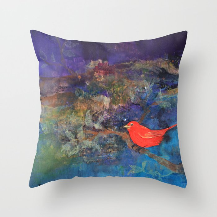 Red Bird Throw Pillow by Robin Maria Pedrero Society6