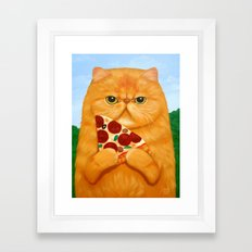 PIZZA FOR LUNCH Framed Art Print