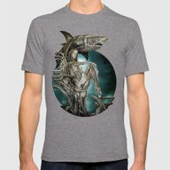 Dolls - Robot Shark Mens Fitted Tee Tri-Grey SMALL