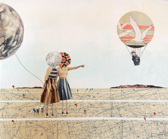trip to the moon, collage Art Print