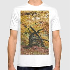 Autumnal woodland. Padley Gorge, Derbyshire, UK. SMALL Mens Fitted Tee White