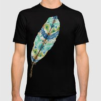 Seaside Feather Mens Fitted Tee Black SMALL