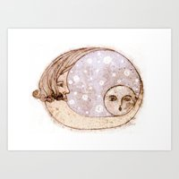 Mother Moon and Baby Moon Art Print